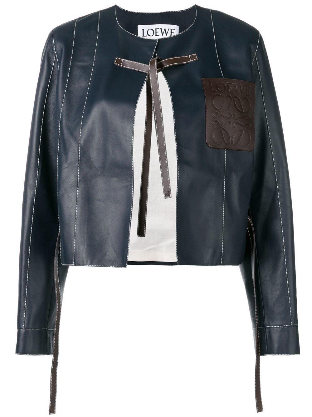 Loewe Tie Fastening Leather Jacket Farfetch Leather Jacket Jackets Women Wear