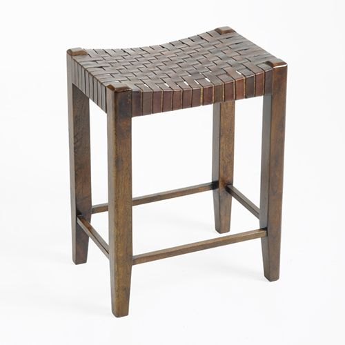 Sad362 Wood And Woven Counter Stool No Back Woven Leather On An