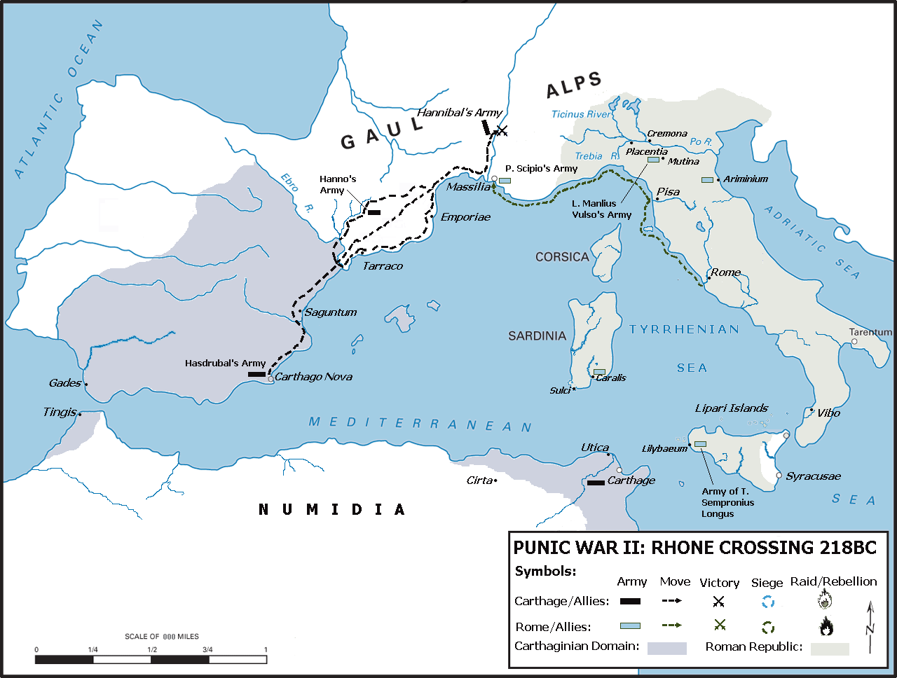 Map of the western Mediterranean and Carthaginian control of