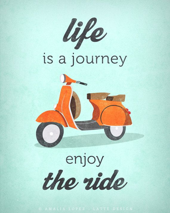 Life Is Journey Enjoy The Ride Quote Poster Print By Lattedesign Fiets Poster Retro Print Poster Afdrukken
