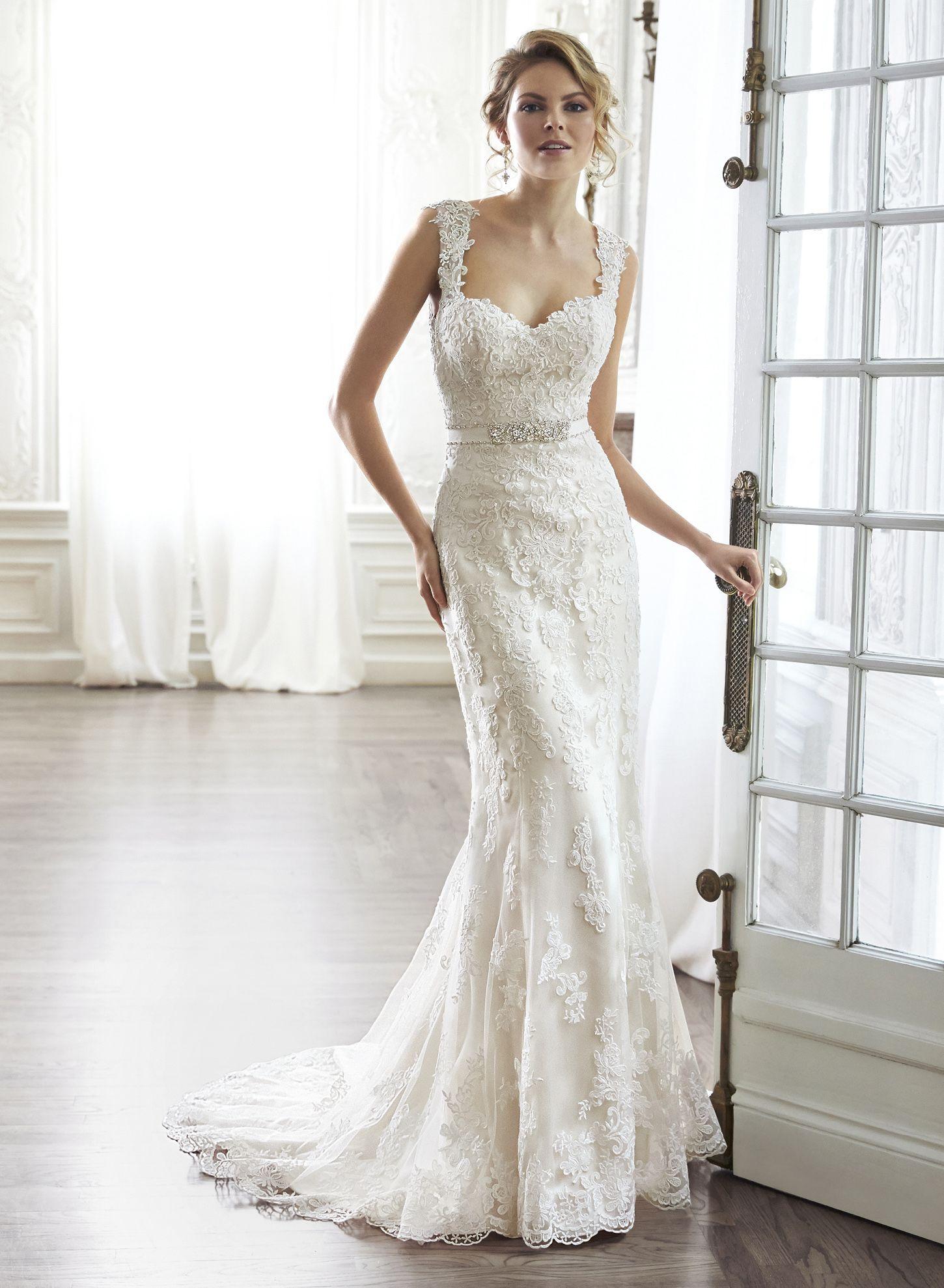 Lace strap wedding dress  Fashionable TrumpetMermaid Sweetheart FloorLength Bowknot Lace