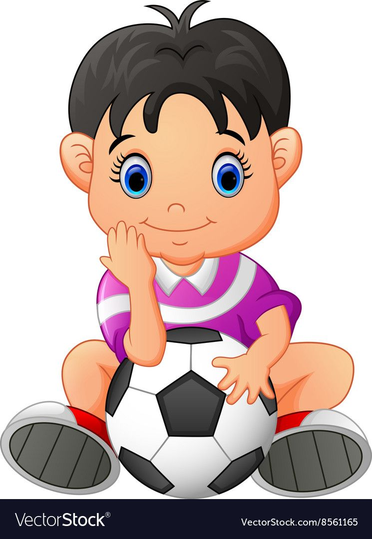 Cute Boy Holding A Soccer Ball Vector Image On Vectorstock Kids Clipart Cute Boys Art Drawings For Kids