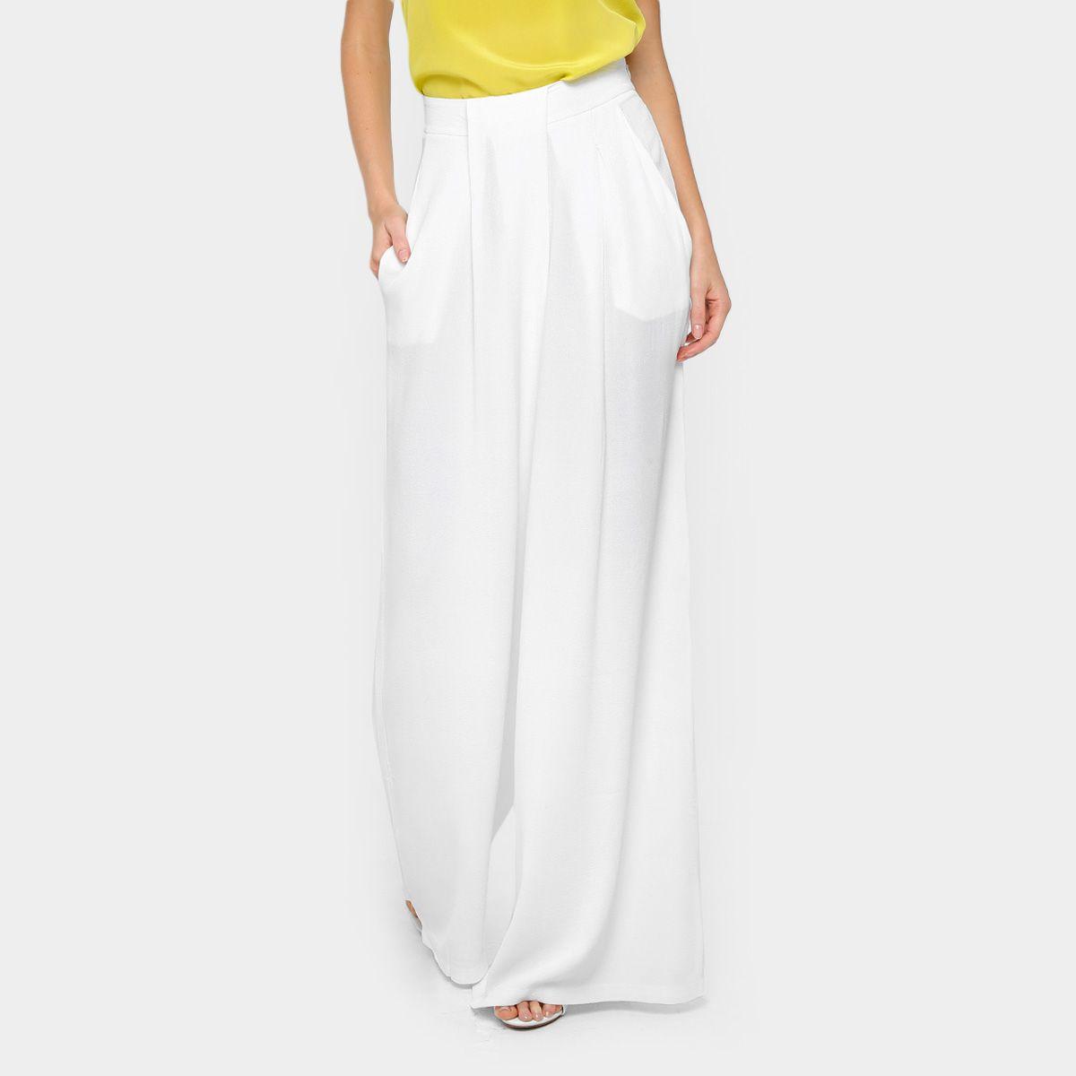 43695d0c9 Calça Pantalona Forum Cintura Alta Feminina - Off White [CLIQUE EM VISITAR]