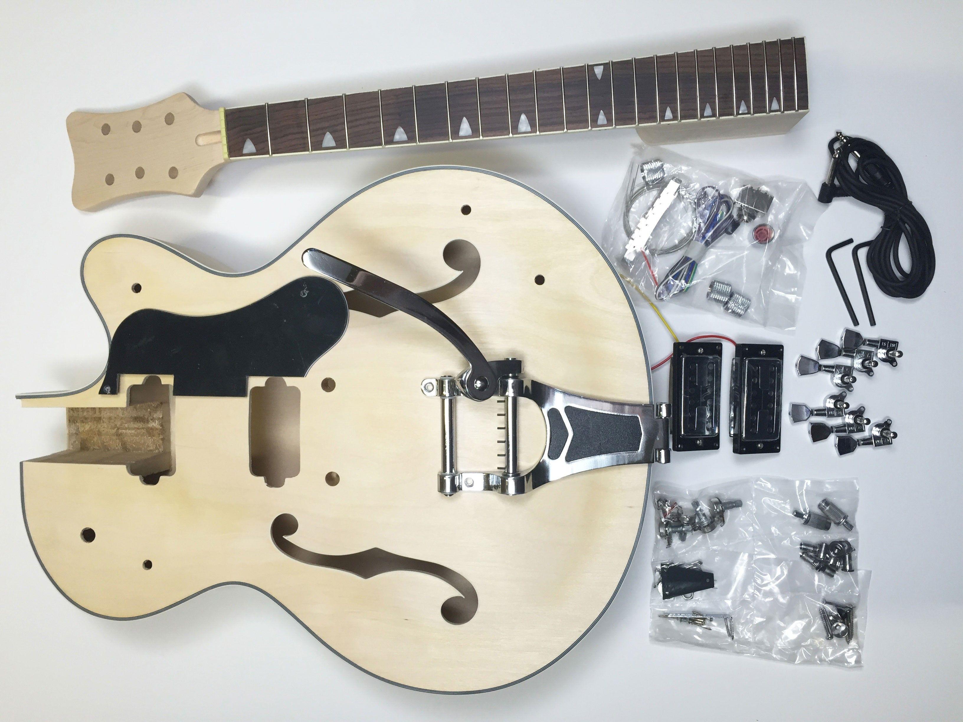 Diy Electric Guitar Kit Hollow Body Build Your Own Guitar Kit Rockabilly Guitar Kits Electric Guitar Kits Electric Guitar