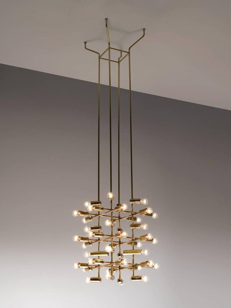 Set of large brass chandeliers with forty bulbs light