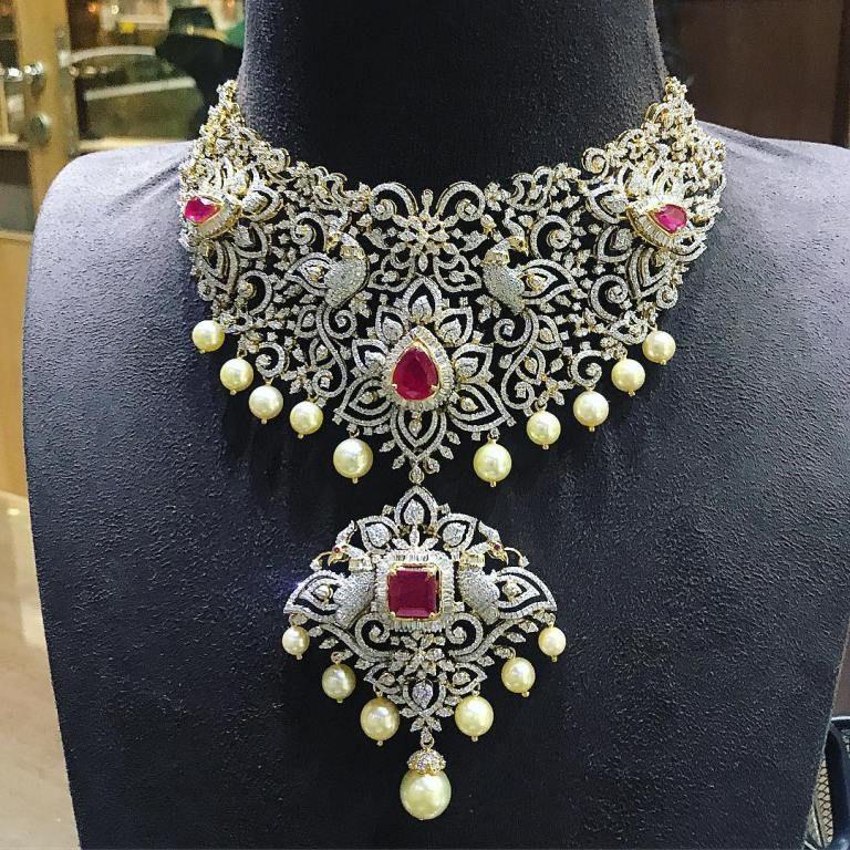 26 Breathtaking Heavy Diamond Necklace Set Designs Diamond Necklace Set Diamond Jewelry Necklace Necklace Set