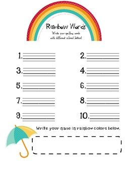 this is my take on the rainbow words printable where kids practice their spelling words by. Black Bedroom Furniture Sets. Home Design Ideas