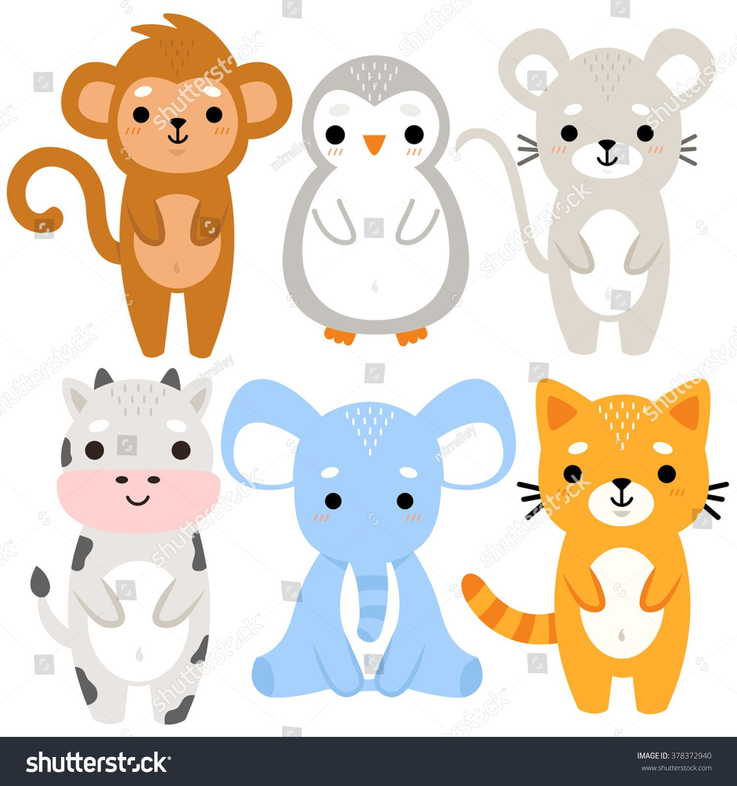 Set Of Six Of Cute Cartoon Baby Animals On White Background Cute Monkey Penguin Mouse Cow Elephant Cartoon Baby Animals Baby Animal Drawings Baby Animals