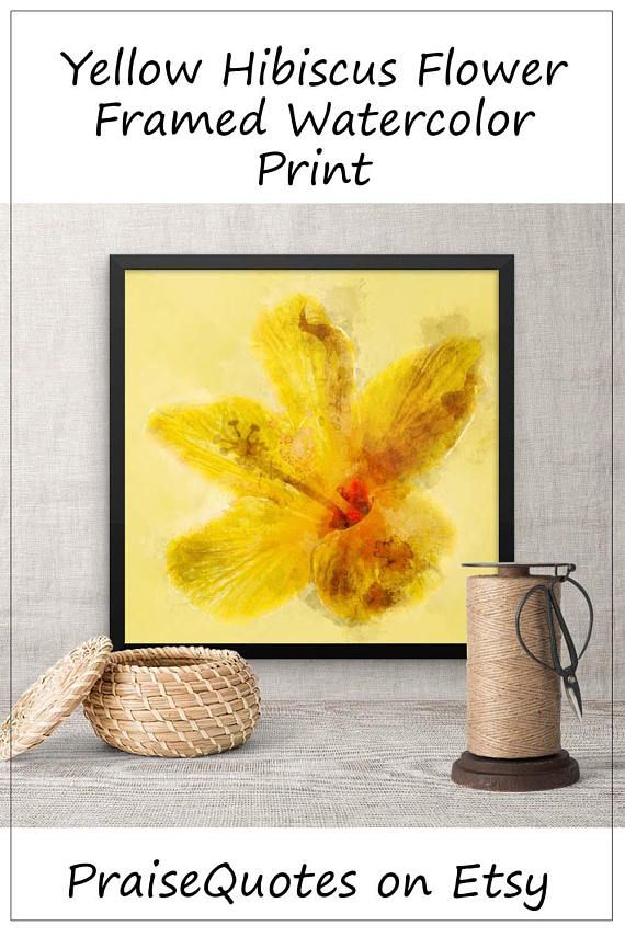 Yellow Hibiscus Flower Framed Watercolor Art, Wall Art Decor ...