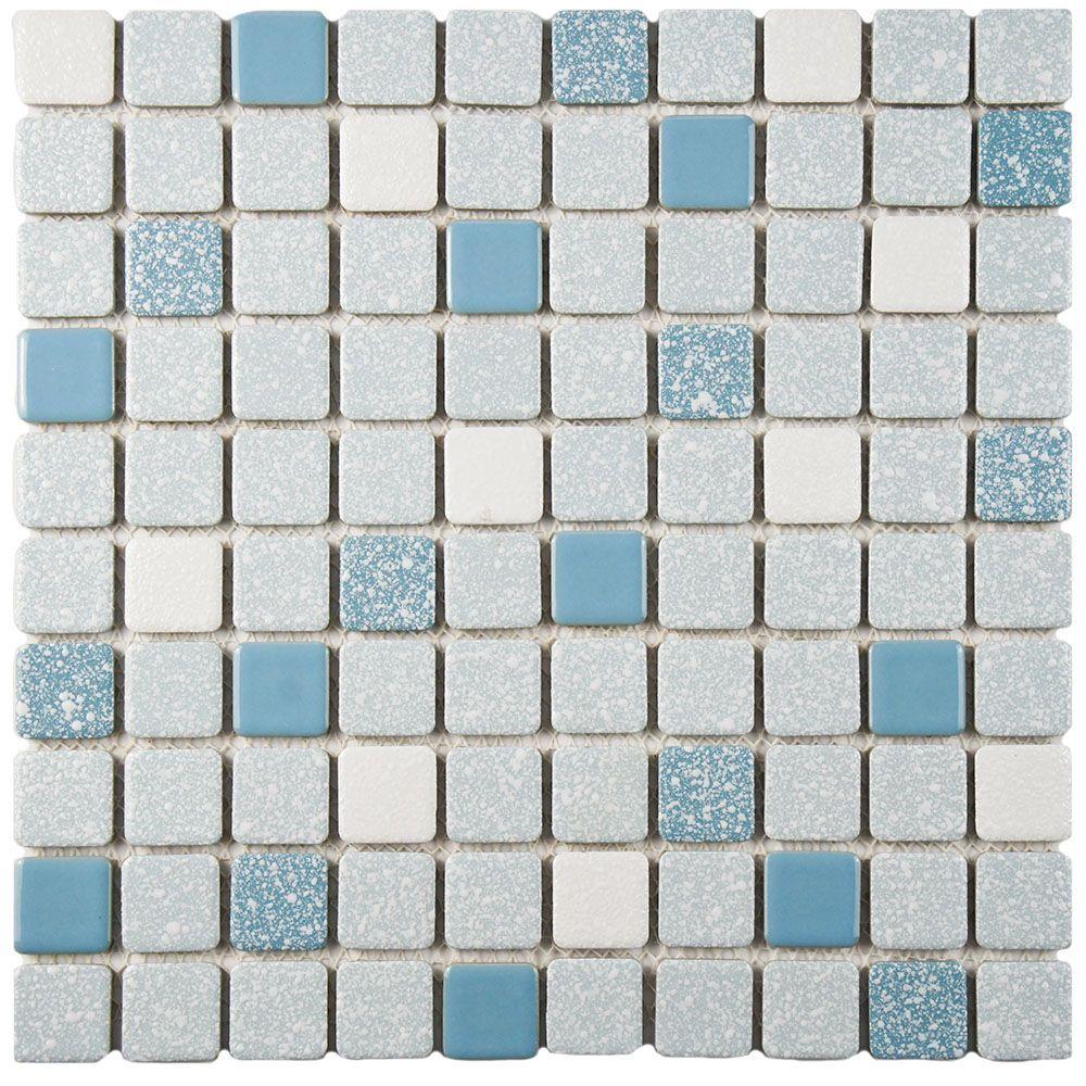 Crystalline Square Blue 11 3 4 Inch X 11 3 4 Inch X 5 Mm Porcelain Mosaic Tile 9 79 Sq Ft Case Tiles Mosaic Mosaic Tiles