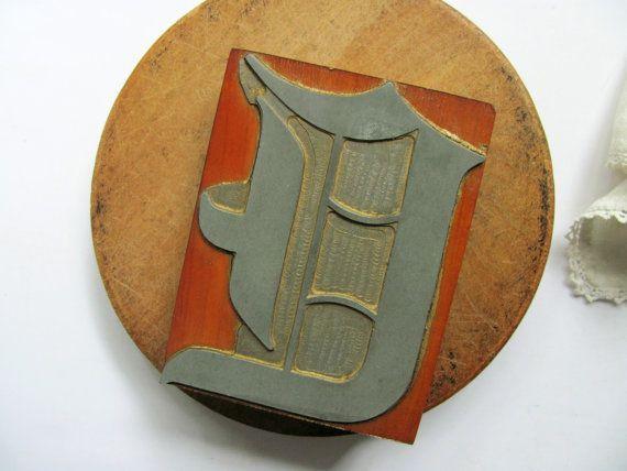Vintage Letterpress Printers Block Letter E Old By Hilltoptimes