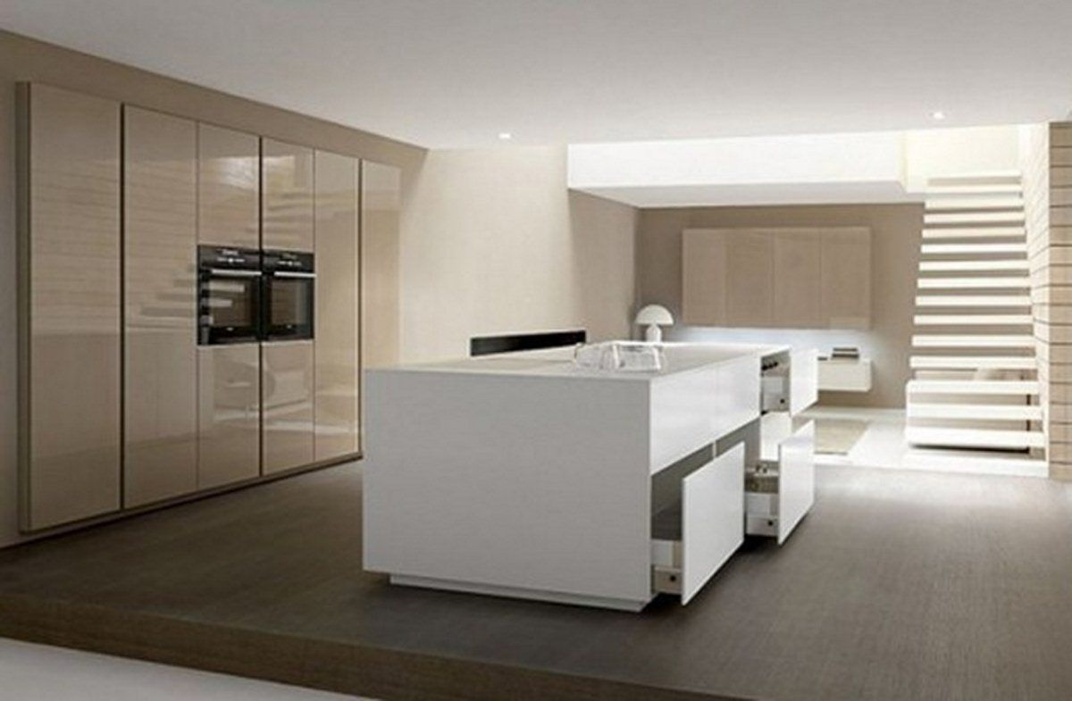 Awesome Minimalist Kitchen Design With Wooden Cabinet.