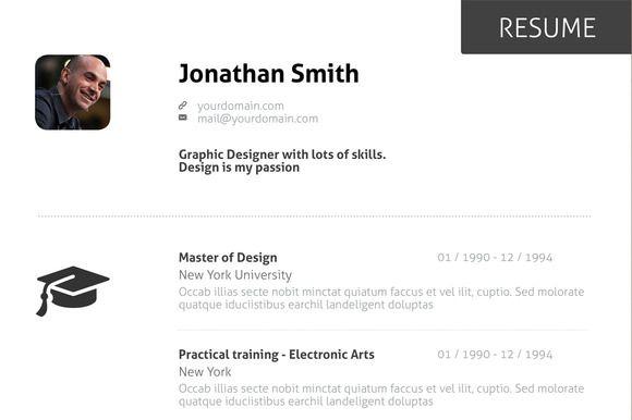 Minimal Curriculum Vitae CV CV Pinterest Fonts and Template