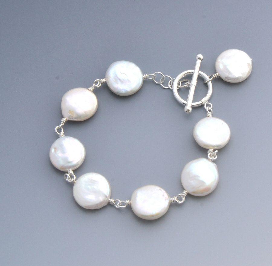 Bridal Elegant Top Quality Coin Fresh Water Pearl Bracelet