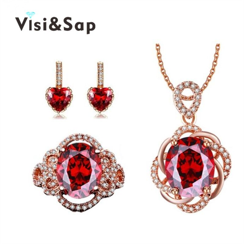 Visisap Romantic Rose gold Color jewelry sets for girls bride Red CZ
