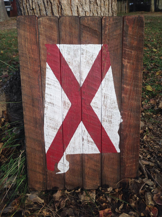 Reclaimed Wood Alabama State Flag Wall Art Etsy In 2020 State Flag Art Etsy Wall Art State Flags