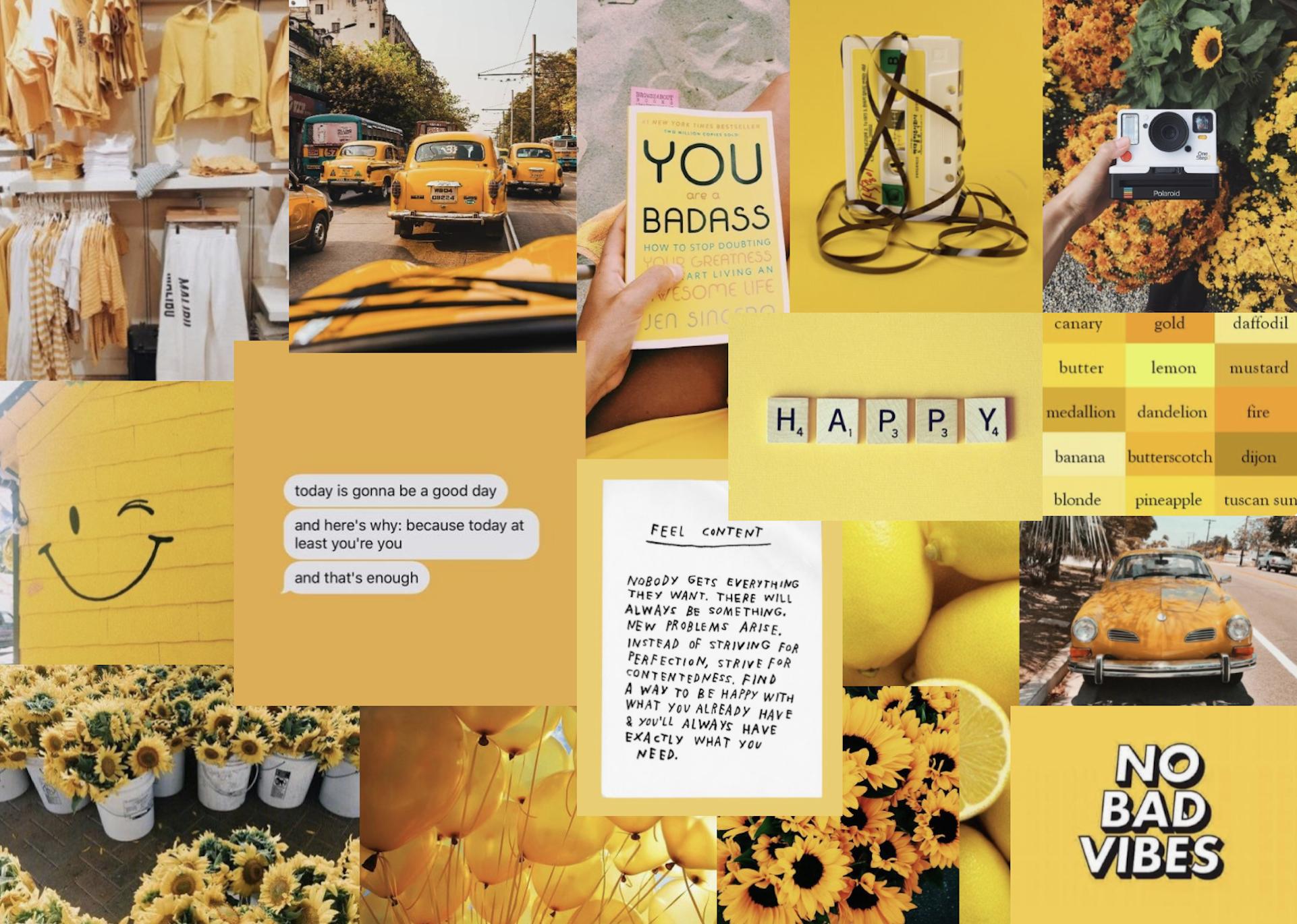 Yellow Collage Laptop Wallpaper Cute Laptop Wallpaper Desktop Wallpaper Macbook