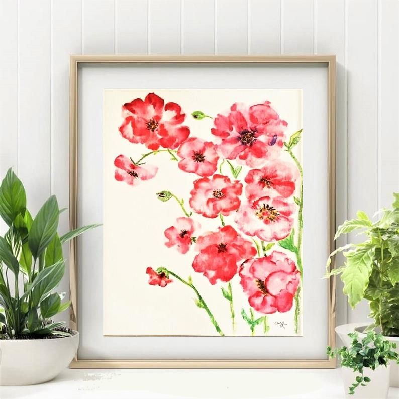 Red Flowers Original Watercolor PaintingFloral   Etsy in ...