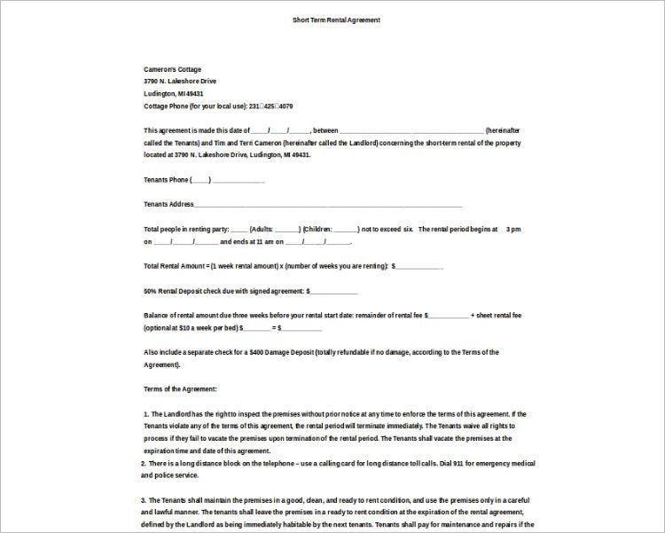 Basic Rental Agreement Word Document Rental Agreement Templates Lease Agreement Free Printable Document Templates