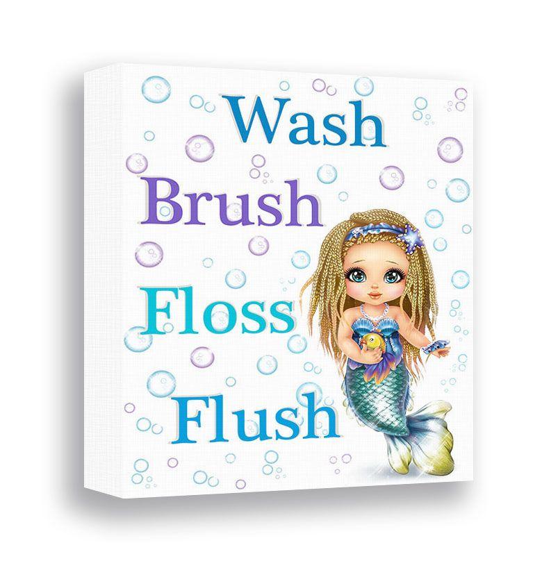Mermaid Bathroom Wall Decor Girl Bathroom Sign Wash Brush Floss