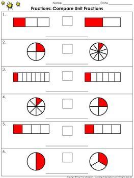 fractions compare unit fractions practice sheets king virtue 39 s classroom matematik mathe. Black Bedroom Furniture Sets. Home Design Ideas