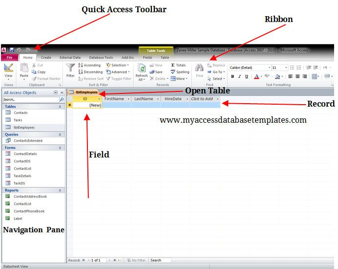 Components Of Ms Access Database Window  Microsoft Access