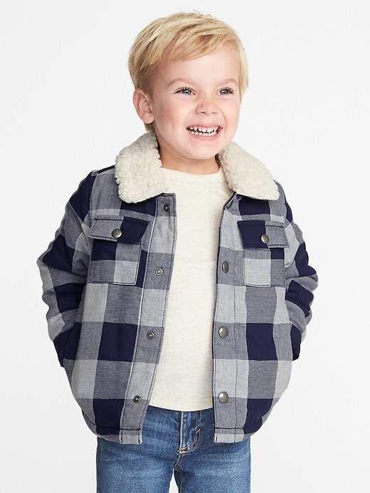 cdf9960f4 Old Navy Sherpa-Lined Plaid Shirt Jacket for Toddler Boys