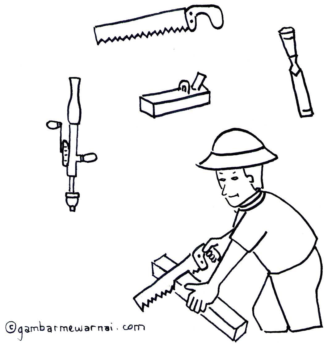 Mengenal Dan Mewarnai Peralatan Tukang Kayu Dengan Gambar