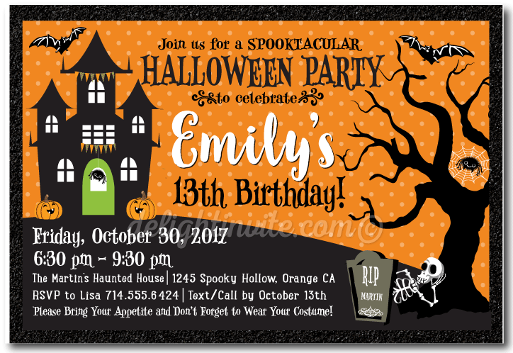 Haunted House Halloween Birthday Invitations KidFriendly Halloween