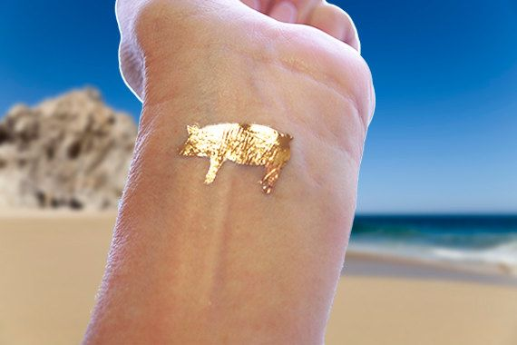 Gold Tattoos Gold Pig Tattoos Temporary Tattoo by ...
