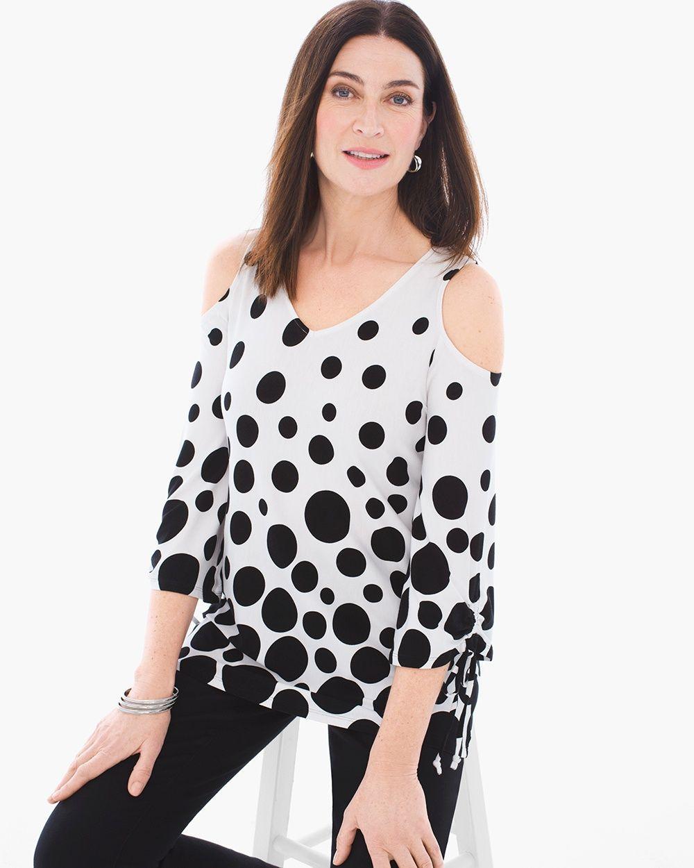 79d85b0c55b Chico s Women s Dot-Print Cold-Shoulder Top