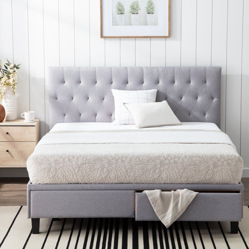 Gabouray Upholstered Low Profile Storage Platform Bed In 2020 Queen Upholstered Bed King Upholstered Bed Bed With Drawers