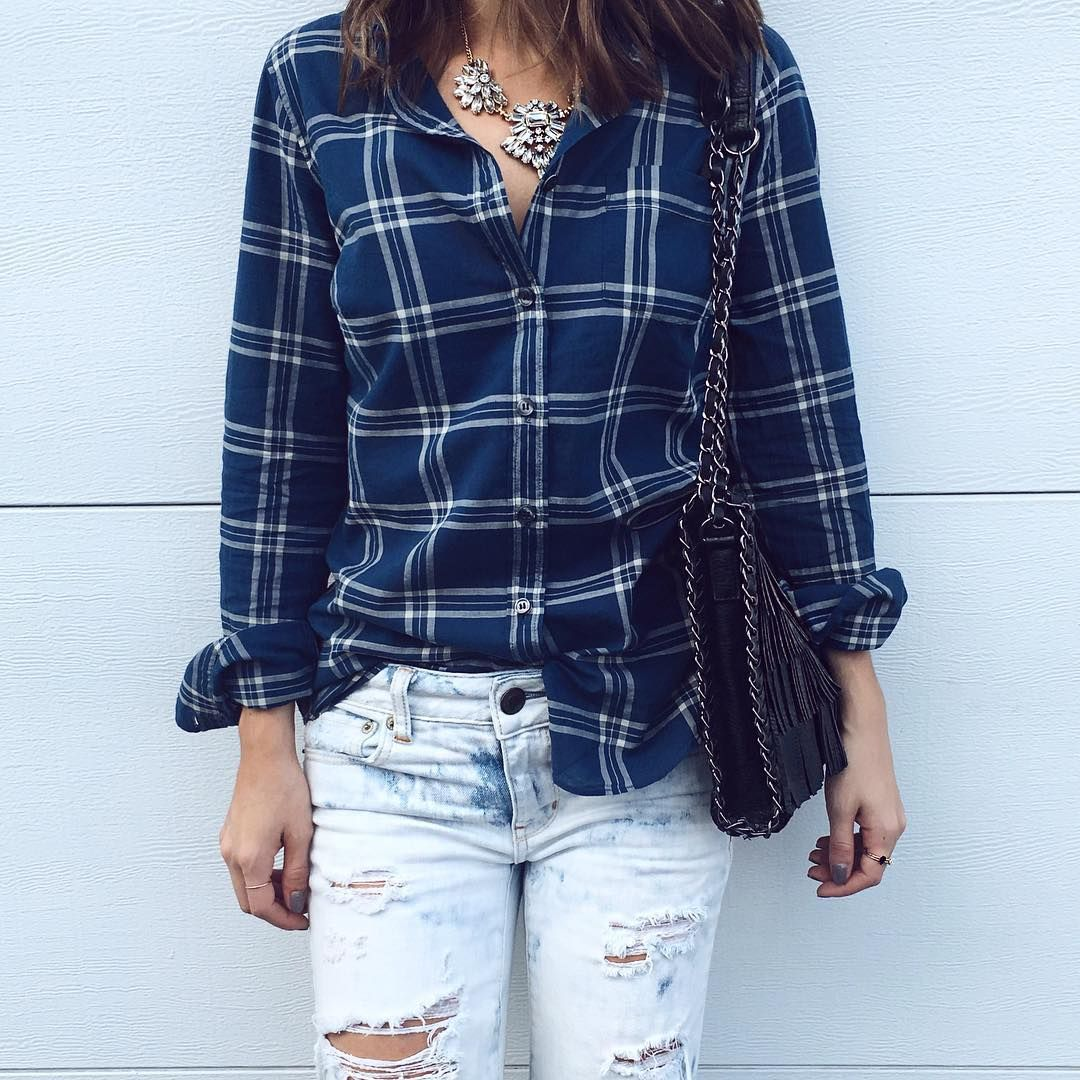 plaid shirt + ripped jeans + statement necklace #TheStyleBungalow
