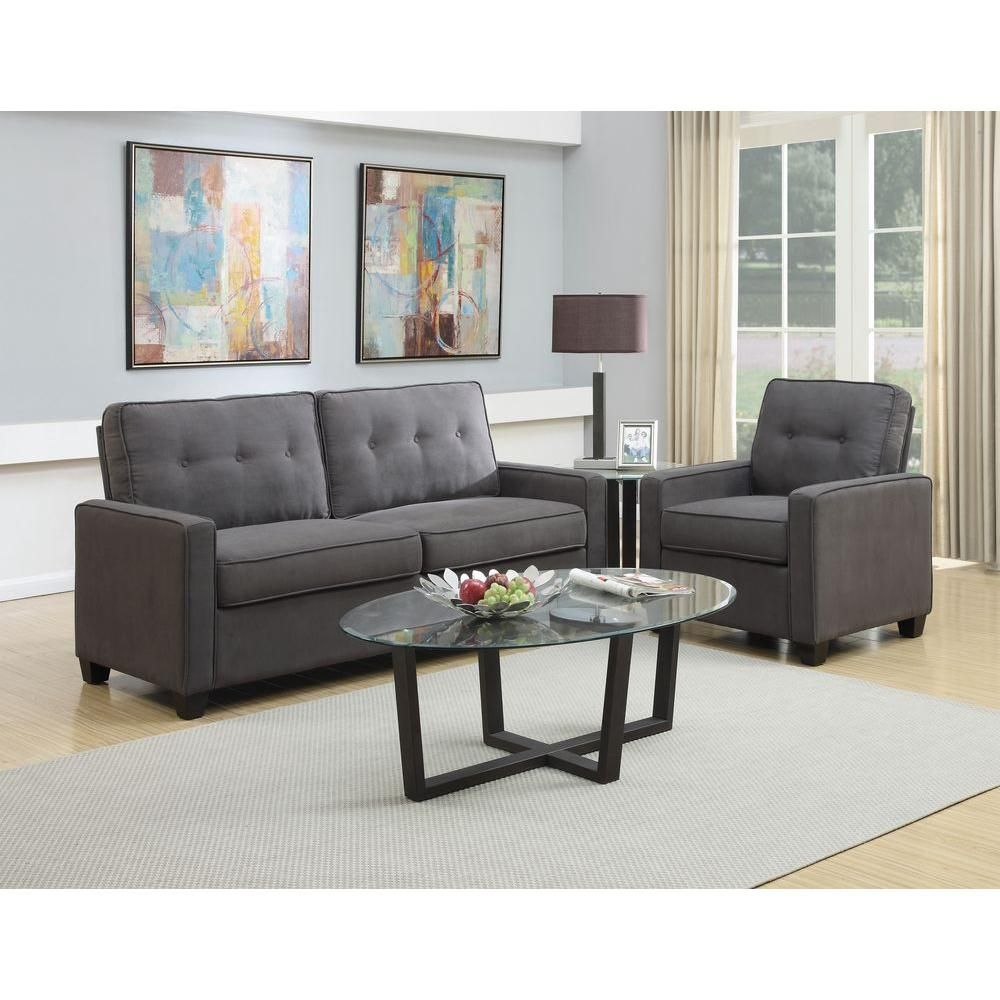 Pulaski Furniture Vernon Slate Gray Polyester Tufted Arm Chair Ds 2635 682 424 The Home Depot Living Room Furniture Sofas Slate Sofa Furniture [ 1000 x 1000 Pixel ]