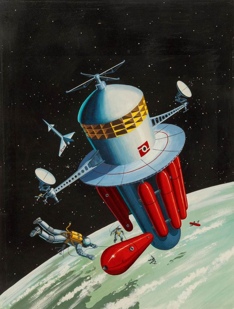 """Refueling the Space Station, Orbit Science Fiction magazine cover"" via retro-futurism / Retro Science Fiction"