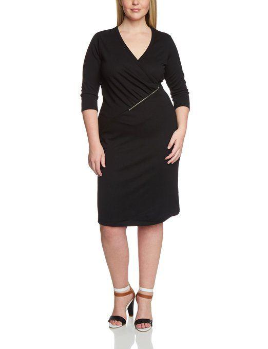 Zizzi - Vestido cóctel de manga 3/4 para mujer: Talla: hasta la 56. Color: Negro. Estilo: cóctel. Material: sin forro. #Mujer #Moda #Especial