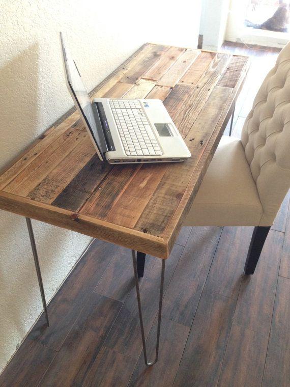 Reclaimed Wood Modern Steel Hairpin Leg Desk Work By KaseCustom