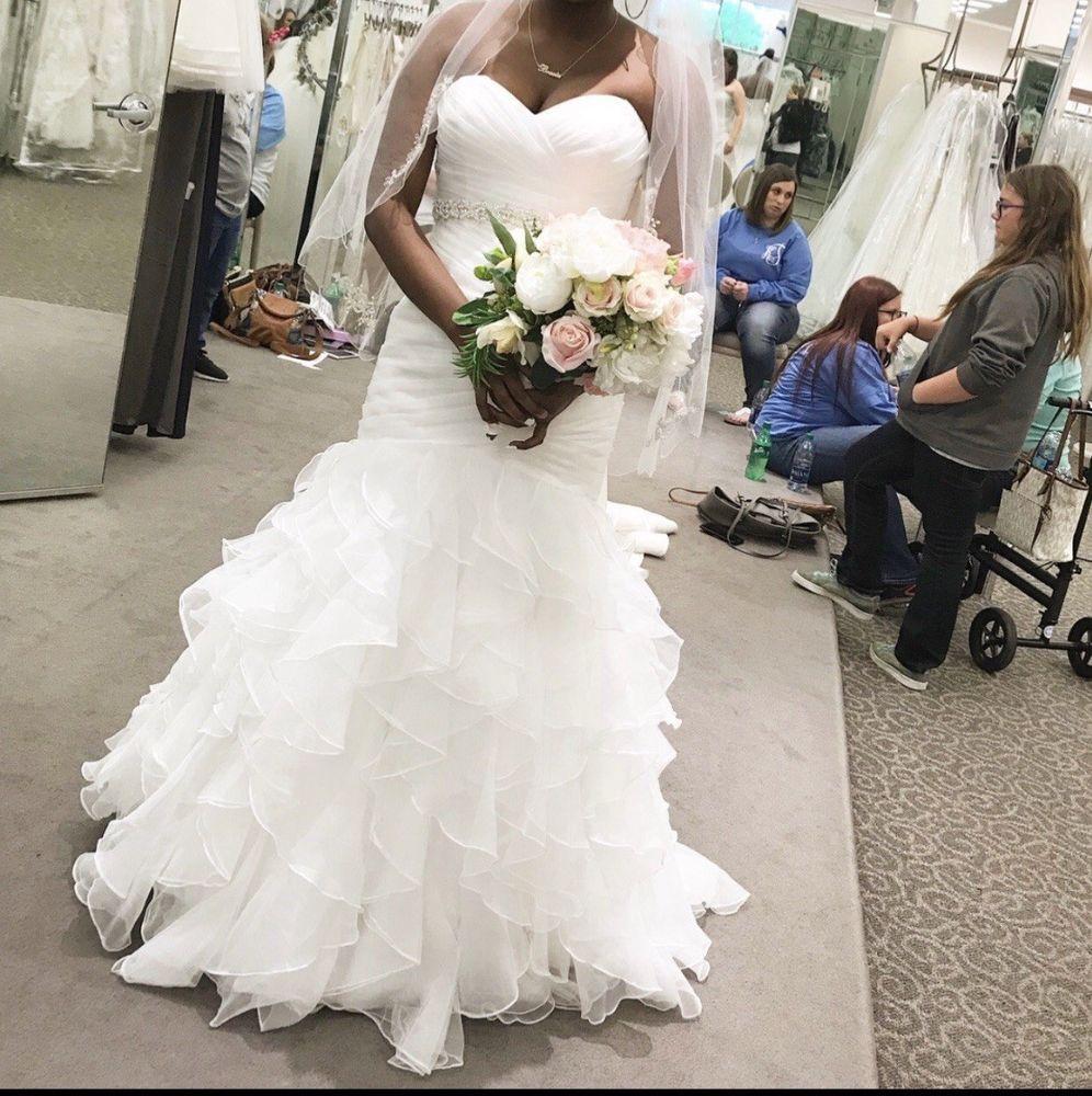 Organza Mermaid Wedding Dress With Ruffled Skirt Davids Bridal Size 12 Fashion Clothing Shoes Accessories Dresses Wedding Dresses Mermaid Wedding Dress
