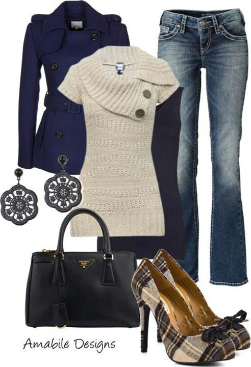 Heels with jeans are not a good pairing. I would use a cute pair of flats with this outfit.