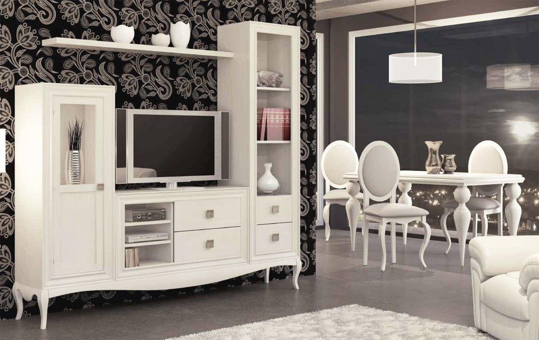 Composición muebles salón con televisión - pino   Salon comedor ...