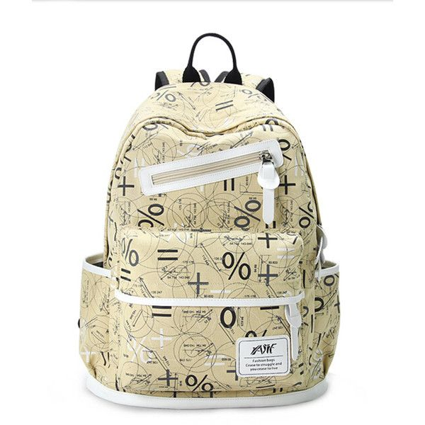 bed65fca3c0c Chicnova Fashion Printed Academy Canvas Backpack (91 ILS) ❤ liked on Polyvore  featuring bags
