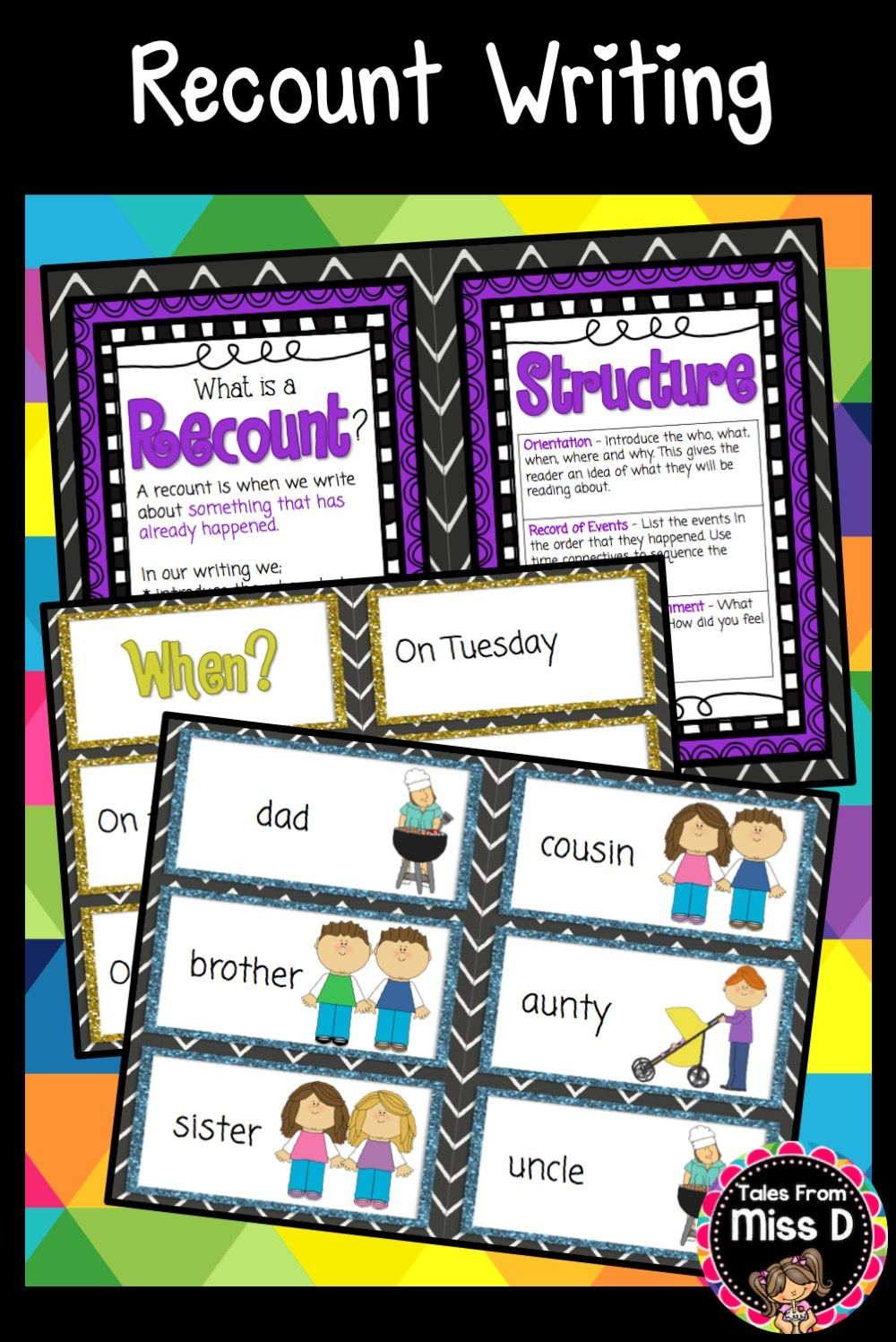 Recount Writing - Graphic Organizers, Writing Prompts and Rubric