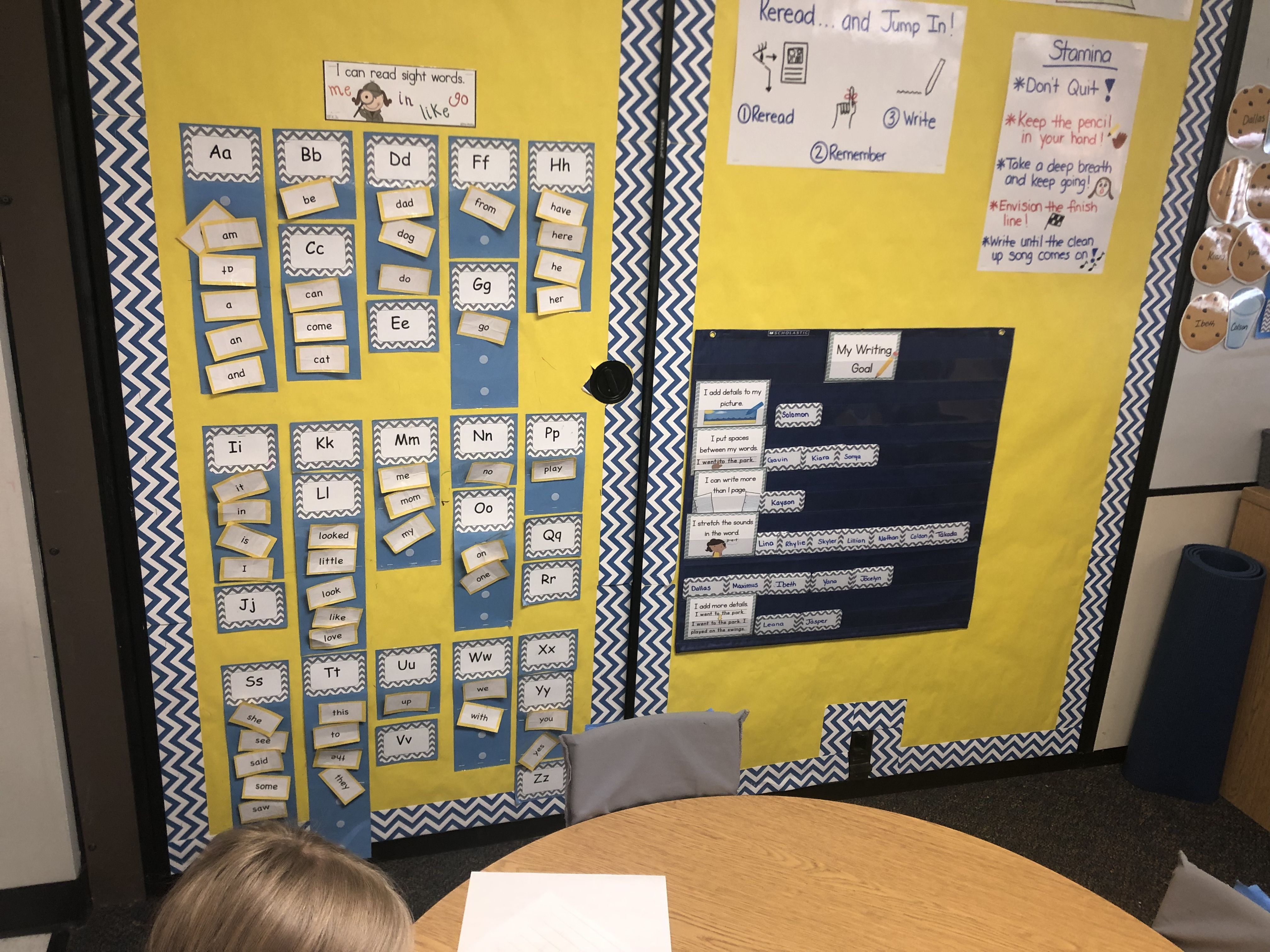 Sight Word Wall Student Writing Goals Posted On Wall