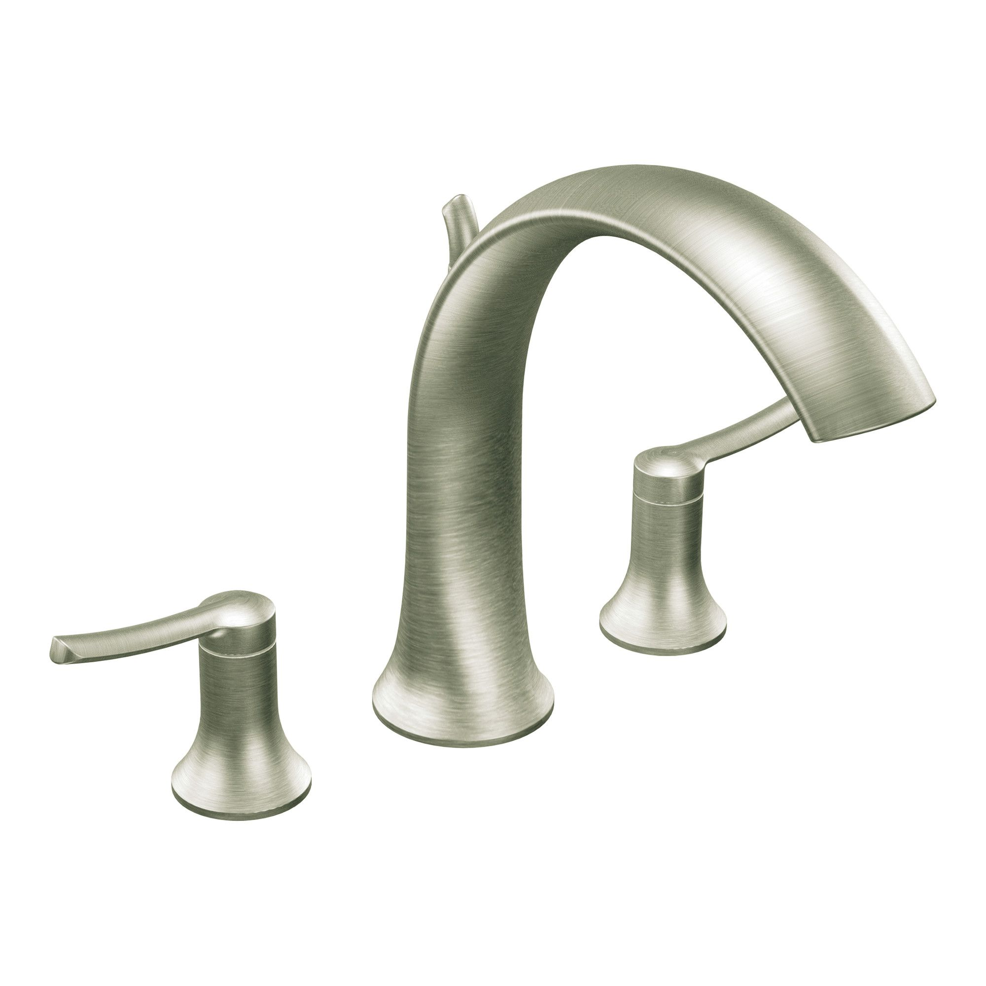 Moen Brushed Nickel Two-Handle High Arc Roman Tub Faucet | Brushed ...