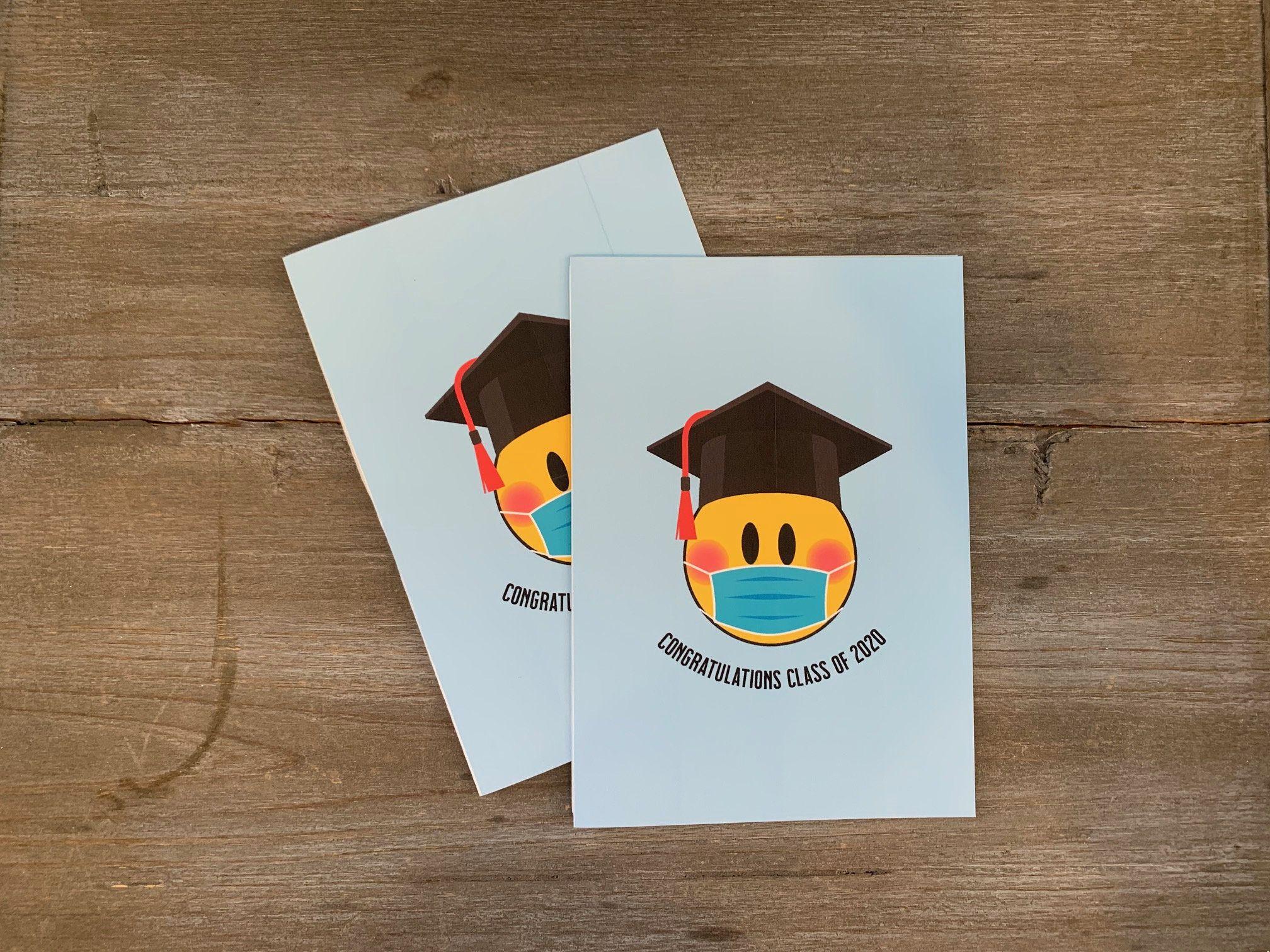 Congratulations Class Of 2020 Mask Emoji Graduation Card Etsy In 2020 Graduation Cards Class Of 2020 Cards