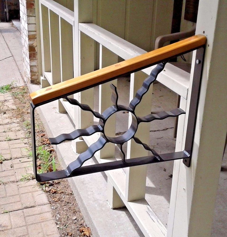 Best Wrought Iron 1 2 Step Handrail Safety Grab Black Hammered 400 x 300
