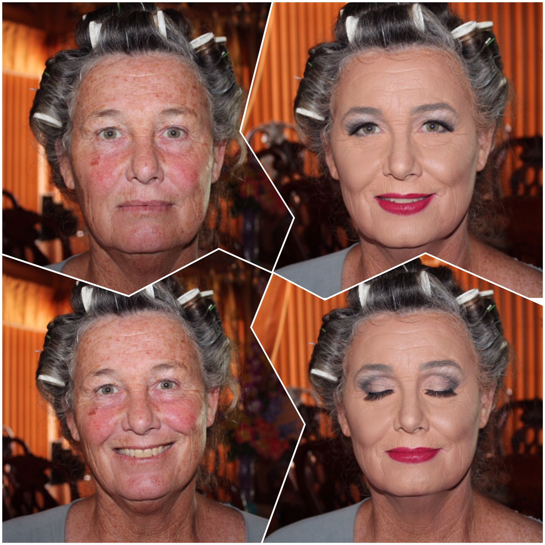 Before and after photos. Makeup for mature skin. Women