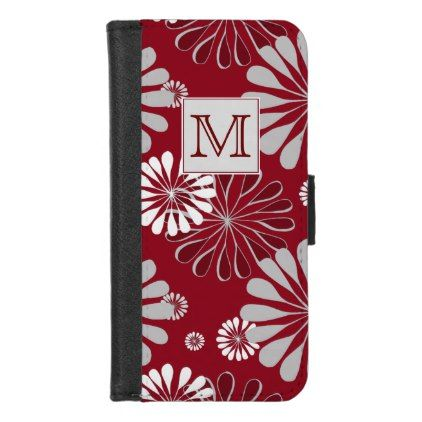 Burgundy and Grey Floral Monogram iPhone 8/7 Wallet Case - monogram gifts unique design style monogrammed diy cyo customize
