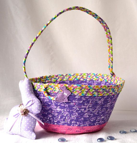 Girl easter basket and 1 cute easter bunny handmade fabric basket girl easter basket and 1 cute easter bunny handmade fabric basket pretty purple easter negle Image collections