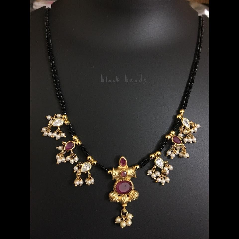 5e7022d987e44 Beautiful one gram gold black bead chain. Black bead chain studded ...